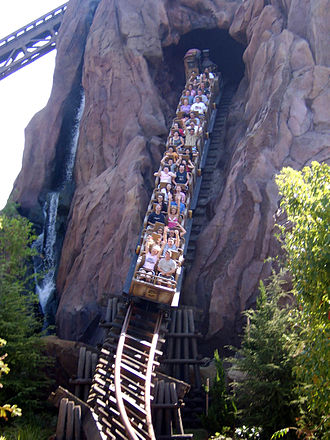 Expedition Everest - A close up of one of the trains on the main drop