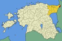H θέση της Νάρβα στο χάρτη της Εσθονίας