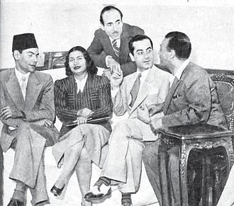 Umm Kulthum - Umm Kulthum with some of the most prominent names in Egyptian classical music. From left: Riad Al Sunbati, Mohamed El Qasabgi, Farid al-Atrash, Zakariya Ahmad.