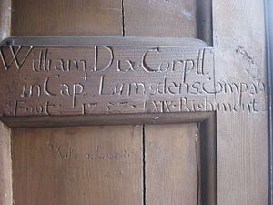 Braemar Castle - Graffiti in the dining room from soldiers stationed at the castle in the 18th century