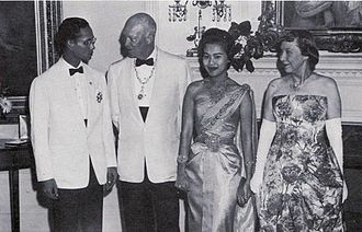 Thailand–United States relations - King Bhumibol Adulyadej, President Dwight D. Eisenhower, Queen Sirikit and Mamie Eisenhower at the White House on June 28, 1960.