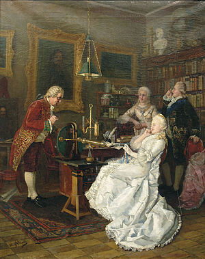 Mikhail Lomonosov - Catherine II of Russia visits Mikhail Lomonosov in 1764. 1884 painting by Ivan Feodorov
