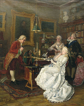 Mikhail Lomonosov - Catherine II of Russia visits Mikhail Lomonosov in 1764. 1884 painting by Ivan Feodorov.