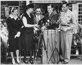 Eleanor Roosevelt at stamp ceremony with Elliott Roosevelt in Hyde Park - NARA - 195783.tif
