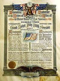 Example 1: A colorful red, white and blue decorated 1919 document by the Benevolent and Protective Order of Elks, declaring itself to be patriotic and barring people viewed as unpatriotic from membership.
