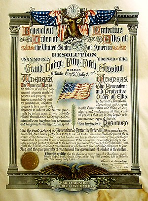 Benevolent and Protective Order of Elks - 1919 Flag Day Resolution barring membership from people perceived as unpatriotic.