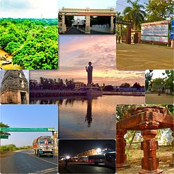 Photos showing Police Quarters, Eluru Railway station arch, C.R. Reddy College, Brundhavan Gardens Park, Vengi Mandapam, Eluru New Bus station, EMC sign board, Sanivarapupeta galigopuram, Gautam Buddha Park