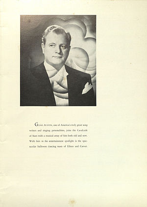 Gene Austin - Image: Emerald Room menu 1952 04 25 biography and photo