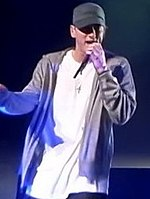 Eminem performing at the DJ hero party with D12 on June 1, 2009