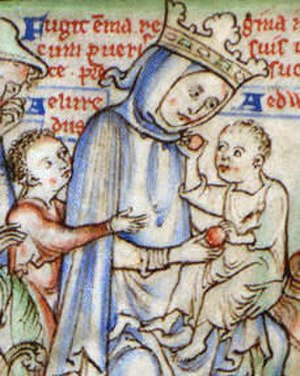 Emma of Normandy - Emma fleeing England with her two young sons following the invasion by Sweyn Forkbeard (1013). Detail of a 13th-century miniature (Fugit emma regina cum pueris suis in normanniam cum pueris suis ut ibidem a duce patre suo protegatur).