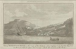 An old engraving shows the Endeavour beached on the shore of a bay, surrounded by wooded hills. An area of land has been cleared and tents set up. A small boat carrying eight men rows on the bay.