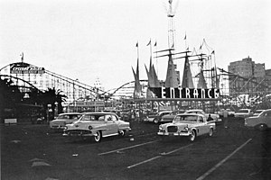 The Pike - Entrance to The Pike in 1960 with the Cyclone Racer in the background.