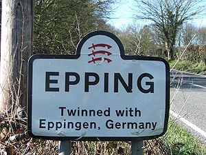 Epping, Essex - Sign showing twin towns of Epping