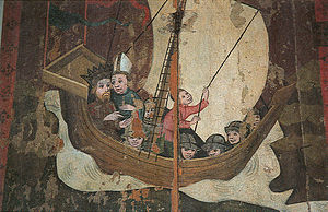 First Swedish Crusade - Eric IX of Sweden and bishop Henry en route to Finland. Late mediaeval depiction from Uppland.