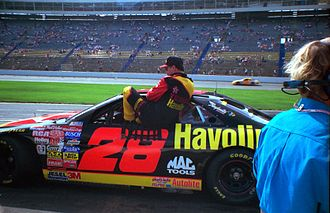 Yates Racing - Ernie Irvan entering his car for the first time following injuries at Michigan in 1994.