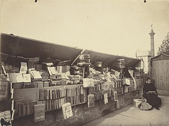 Books in France - Image: Eugène Atget, Secondhand Book Dealer, place de la Bastille Getty Museum