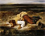 Eugène Delacroix - A Mortally Wounded Brigand Quenches his Thirst - WGA06165.jpg