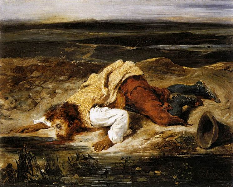 File:Eugène Delacroix - A Mortally Wounded Brigand Quenches his Thirst - WGA06165.jpg