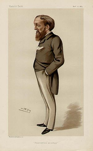 "Evelyn Ashley - ""Palmerston's Secretary"". Caricature by Spy published in Vanity Fair in 1883."