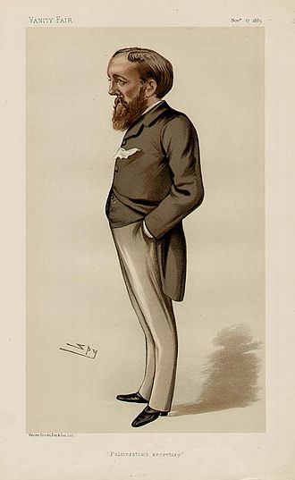 """Evelyn Ashley - """"Palmerston's Secretary"""". Caricature by Spy published in Vanity Fair in 1883."""