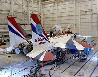 McDonnell Douglas F-15 STOL/MTD - F-15 ACTIVE showing its 3D thrust vectoring nozzles.