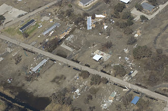 Cameron, Louisiana - September 23, 2008 -- Aerial view of Hurricane Ike's destruction of Cameron Parish. Calvin Tolleson/Federal Emergency Management Agency