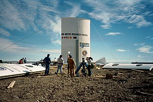 Flashline Mars Arctic Research Station - The first set of the station's wall panels are erected on July 20, 2000.