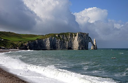 The Arche and the Aiguille of the cliffs of Etretat Falaises Etretat 2012.jpg