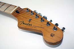 Stratocaster headstock, with six inline tuning pegs (machine heads) down one side