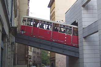 Fourvière - A funicular of Lyon entering Saint Jean station.