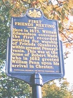 Photo of Robert Wade, Pennsylvania Friends, and William Edmundson blue plaque