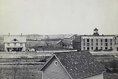 First Duke tobacco factory and surrounding buildings 1883