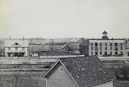 Early view of first Duke tobacco factory and family home, Durham, 1883 First Duke tobacco factory and surrounding buildings 1883.jpg