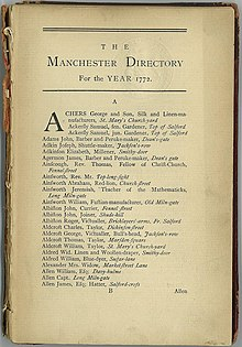 "Page headed ""The Manchester Directory for the Year 1772"". Below which is a list of names from Archer to Allen"