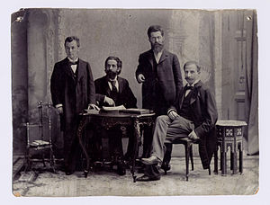 Edward Flatau -  Left Siegfried Kalischer, Edward Flatau (points to a book), Louis Jacobsohn-Lask, Bernhard Pollack. Around 1900 in Berlin