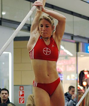 Sportswear (activewear) - German pole vaulter and 2002 World Junior Championships in Athletics gold medalist Floé Kühnert wearing a uniform suitable for her sport