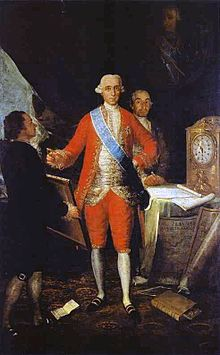 Portrait of a man in red, with a blue sash across his chest