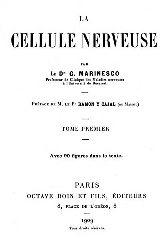 Gheorghe Marinescu - Flyleaf of La Cellule Nerveuse by G. Marinesco (1909)