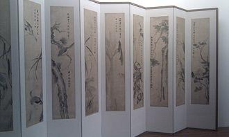 Folding screen - Folding screen on display at Guimet Museum, Paris