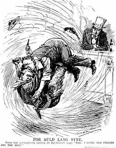 Борьба Рузвельта с Тафтом на глазах дяди Сэма. Карикатура 1912г.