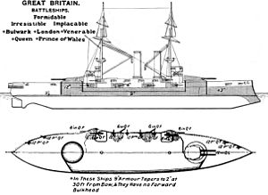 Formidable-class battleship - Right elevation and deck plan as depicted in Brassey's Naval Annual 1906