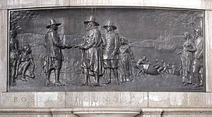 Beacon Hill, Boston - Founders Memorial, John Francis Paramino, 1930. The memorial, located in the Boston Common, depicts the city's first English resident, William Blackstone, greeting colonial governor John Winthrop and his company.