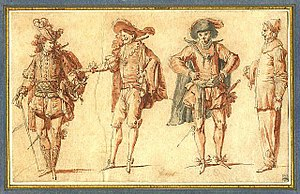 Commedia dell'arte - Claude Gillot (1673–1722), Four Commedia dell'arte Figures: Three Gentlemen and Pierrot, c. 1715
