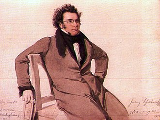 Franz Schubert - Watercolour of Franz Schubert by Wilhelm August Rieder (1825)