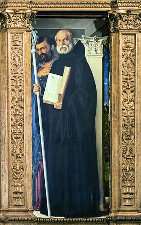 21 mars : Saint Benoît de Nursie 280px-Frari_(Venice)_-_Sacristy_-_triptych_by_Giovanni_Bellini_-_Saint_Benedict_of_Nursia_and_Saint_Mark