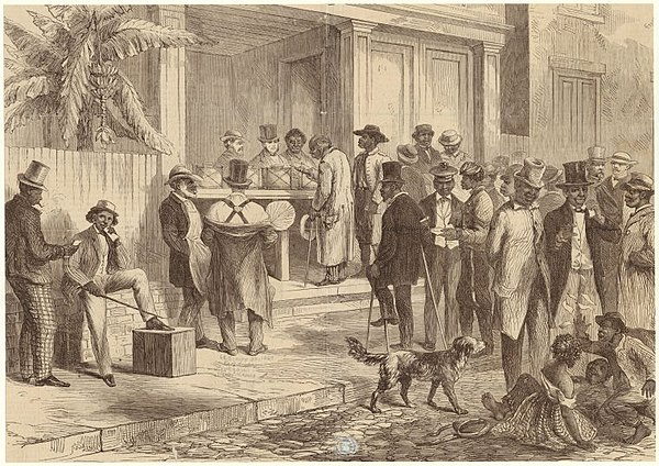 Freedmen voting in New Orleans, 1867. FreedmenVotingInNewOrleans1867.jpeg