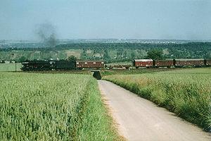 Backnang–Ludwigsburg railway - Steam freight train between Freiberg am Neckar and Benningen, 1972
