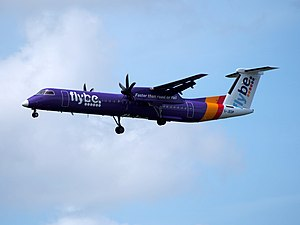 G-JEDP Dash-8 Flybe, 12Aug2014, landing at Schiphol (AMS - EHAM), The Netherlands.JPG