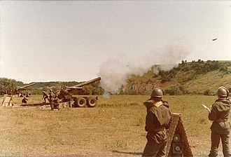 Comando Truppe Alpine - 1st Heavy Artillery Group Adige firing its M115 howitzers