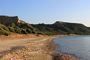 "ANZAC Cove - The cove with ""sphinx"" rock in the background"